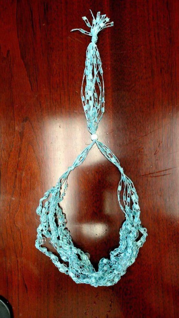 aqua crochet necklace