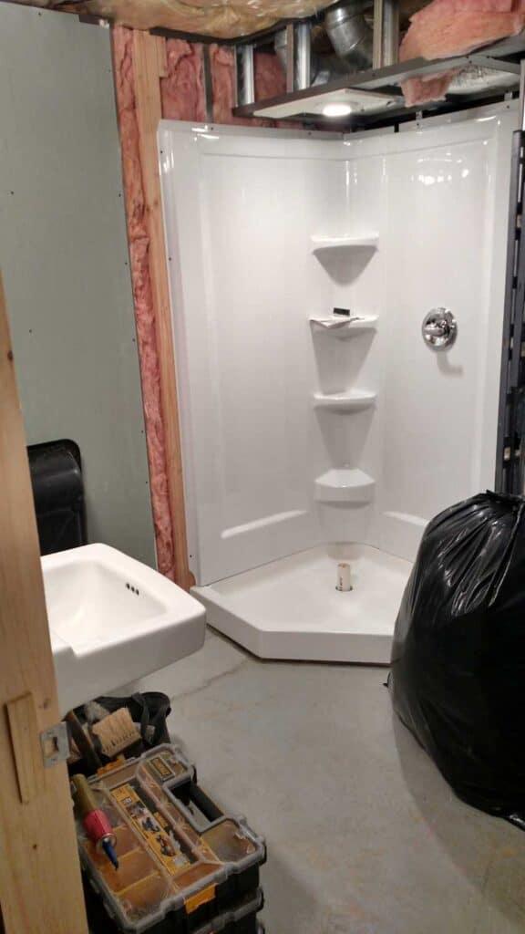 corner shower surround