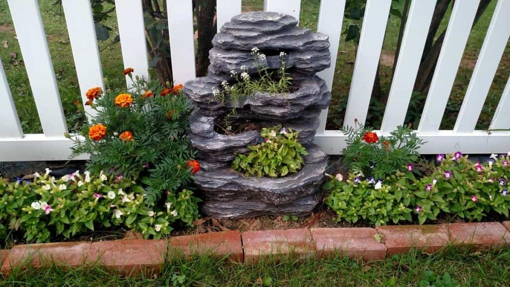 repurposed waterfall into a planter