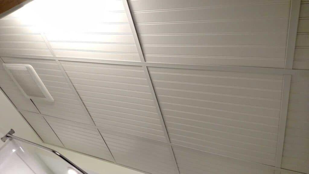 closeup of beadboard drop ceiling