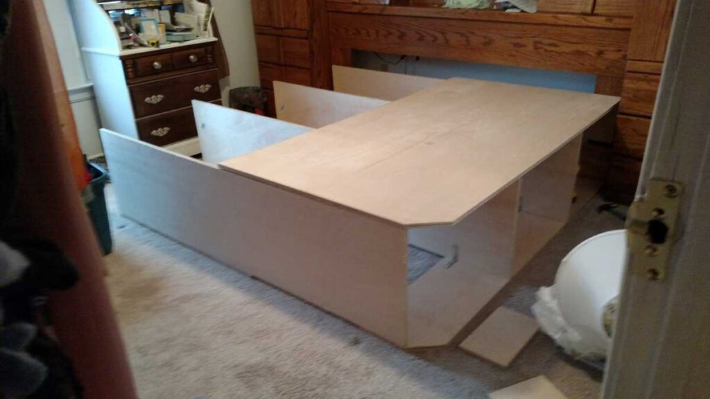 platform bed partially assembled
