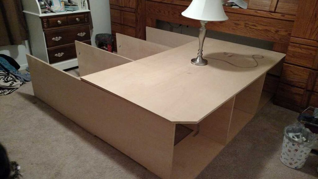top view of partially assembled platform bed