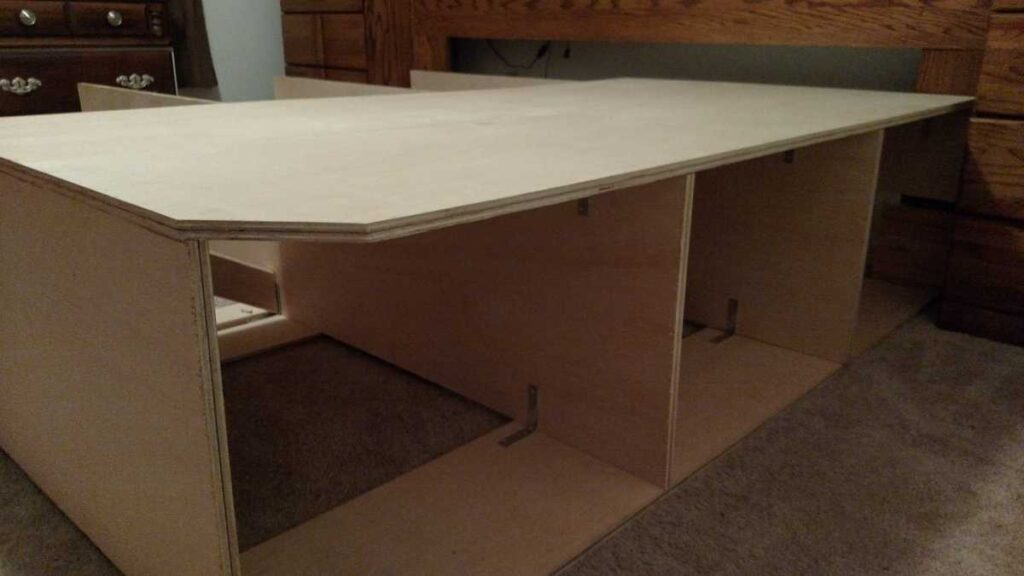 side view of partially assembled platform bed