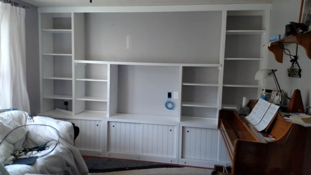 The finished shelving