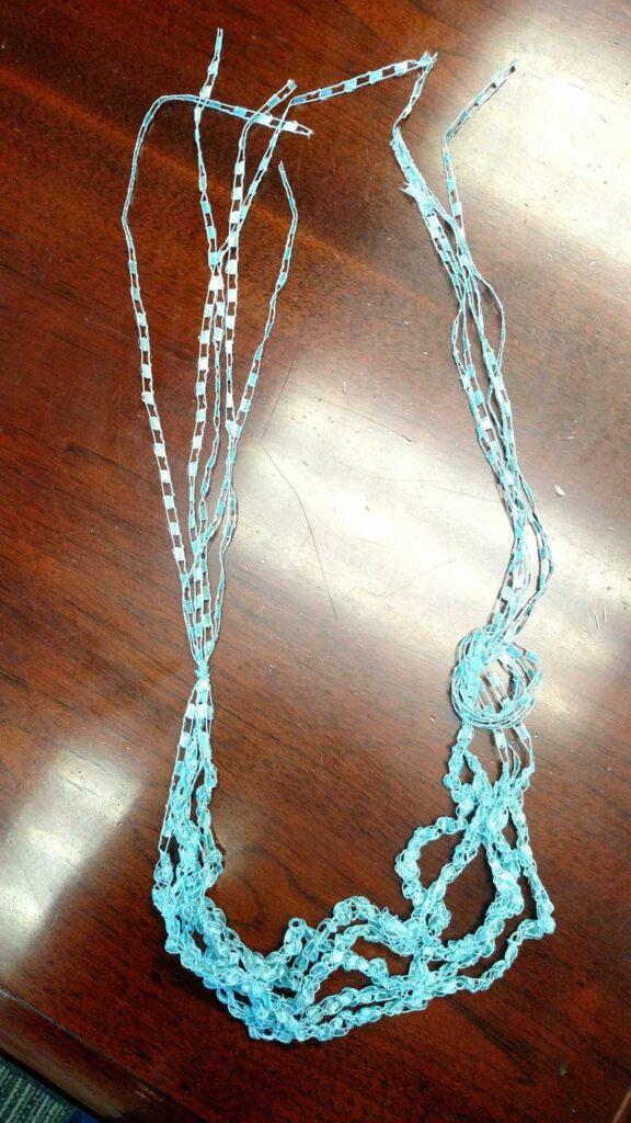 aqua ladder ribbon yarn