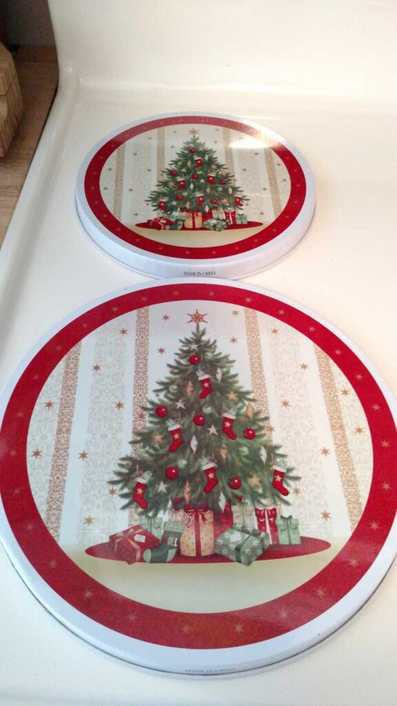 close up of Christmas tree burner covers