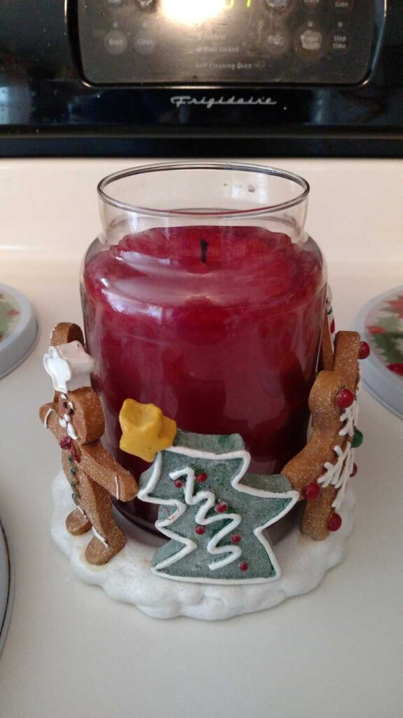 large gingerbread themed candle holder