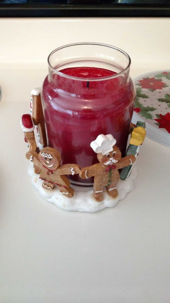 another side view of large gingerbread candle holder