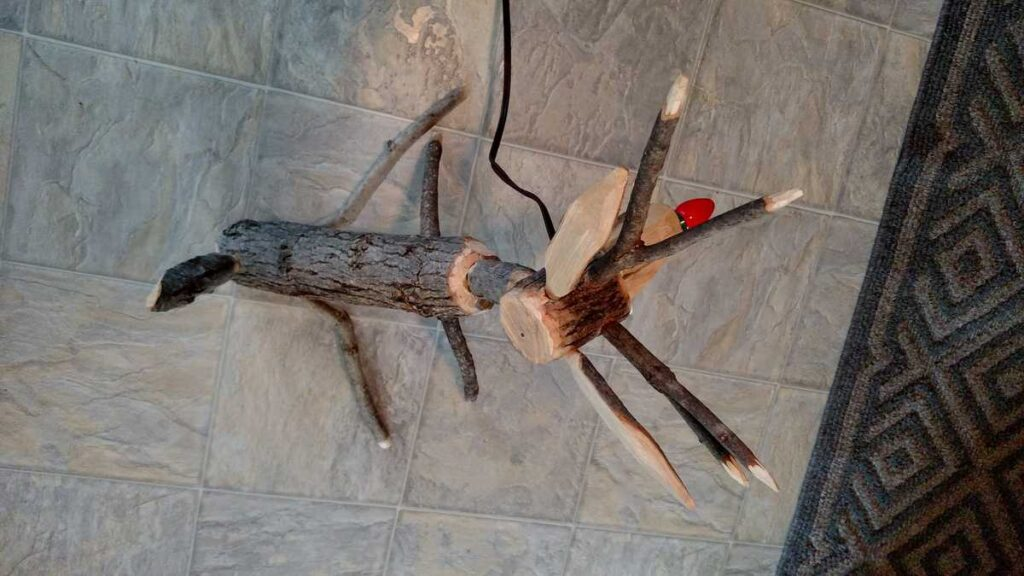 view from top of assembled wooden reindeer