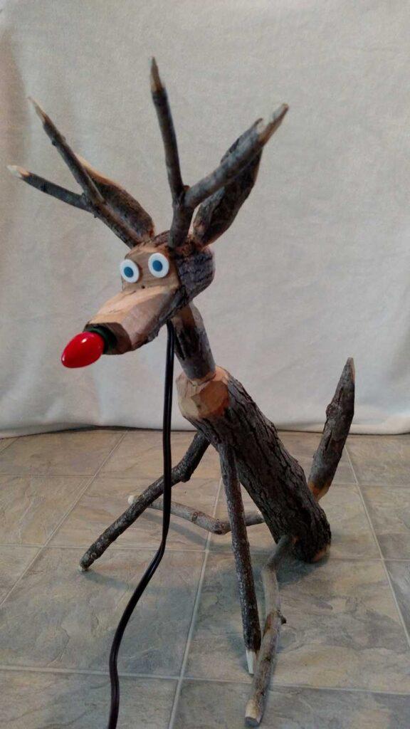 wooden handmade reindeer