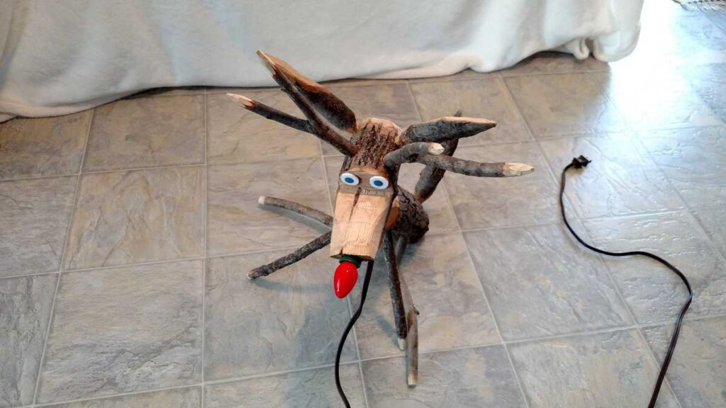 a view from the top of the wooden reindeer