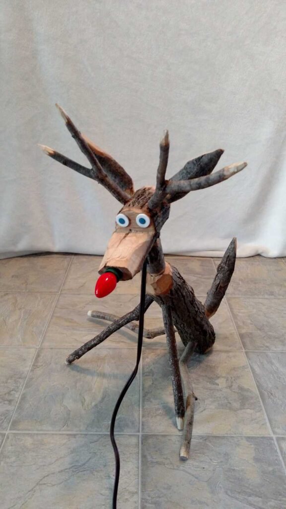 front view of assembled handmade wooden reindeer