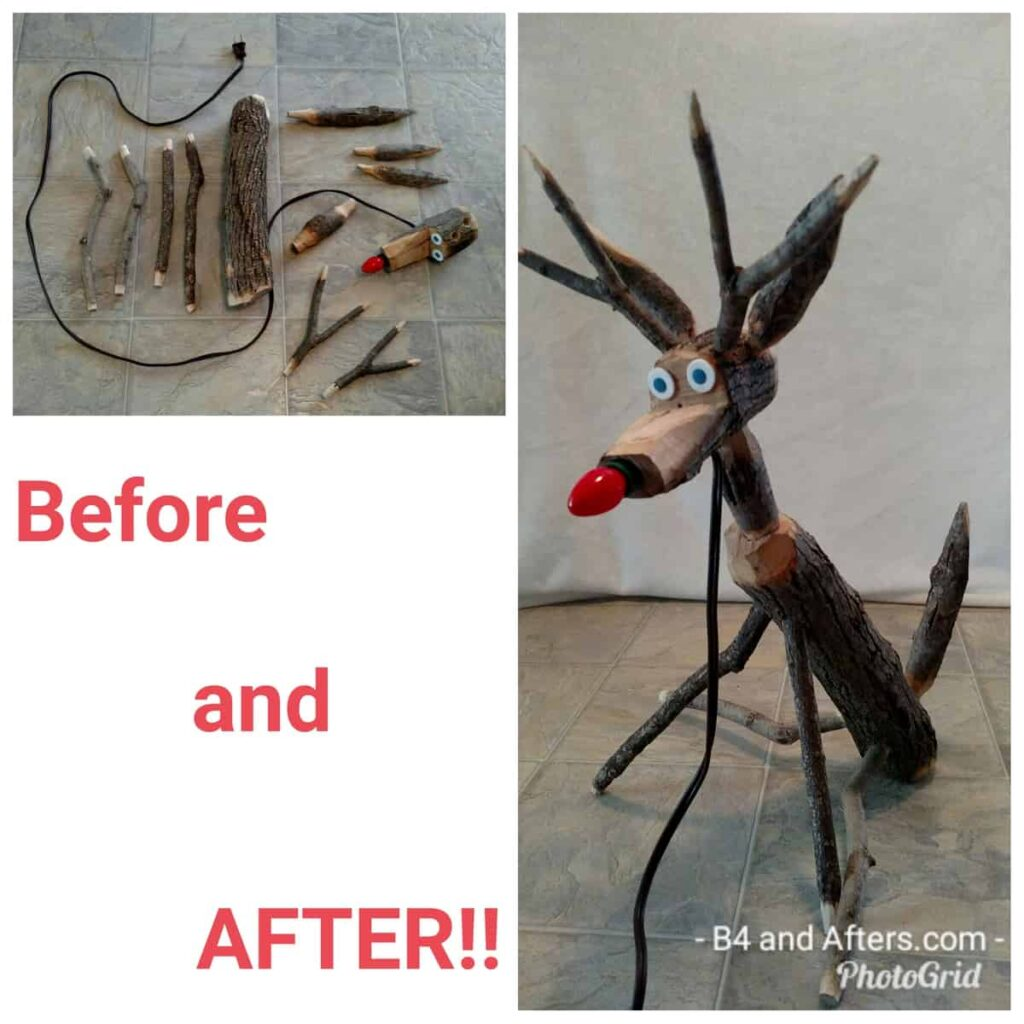 Before and after collage of handcrafted reindeer