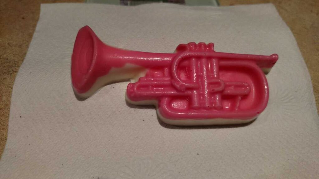 pink and white chocolate trumpet