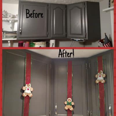 plain cabinets before and after adding felt gingerbread men