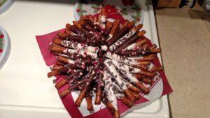 Dark and White chocolate covered pretzel rods
