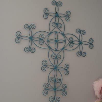 painted blue metal cross