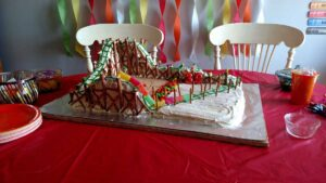 Roller Coaster Cake made with pretzels and gummy candy