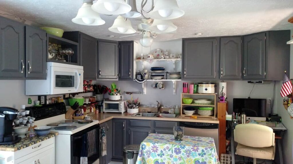 After picture of painted gray cabinets