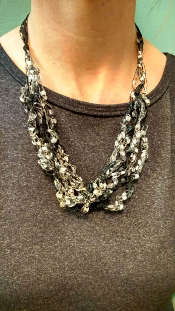 black and silver crochet necklace
