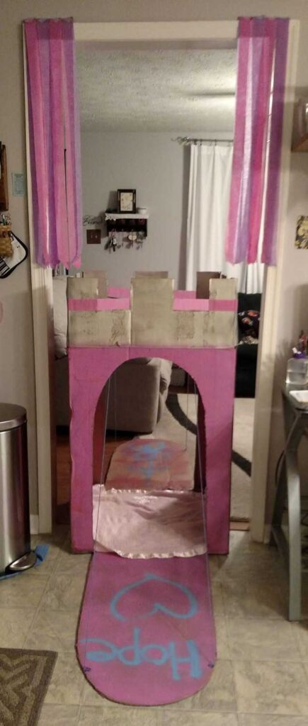 cardboard castle with drawbridge