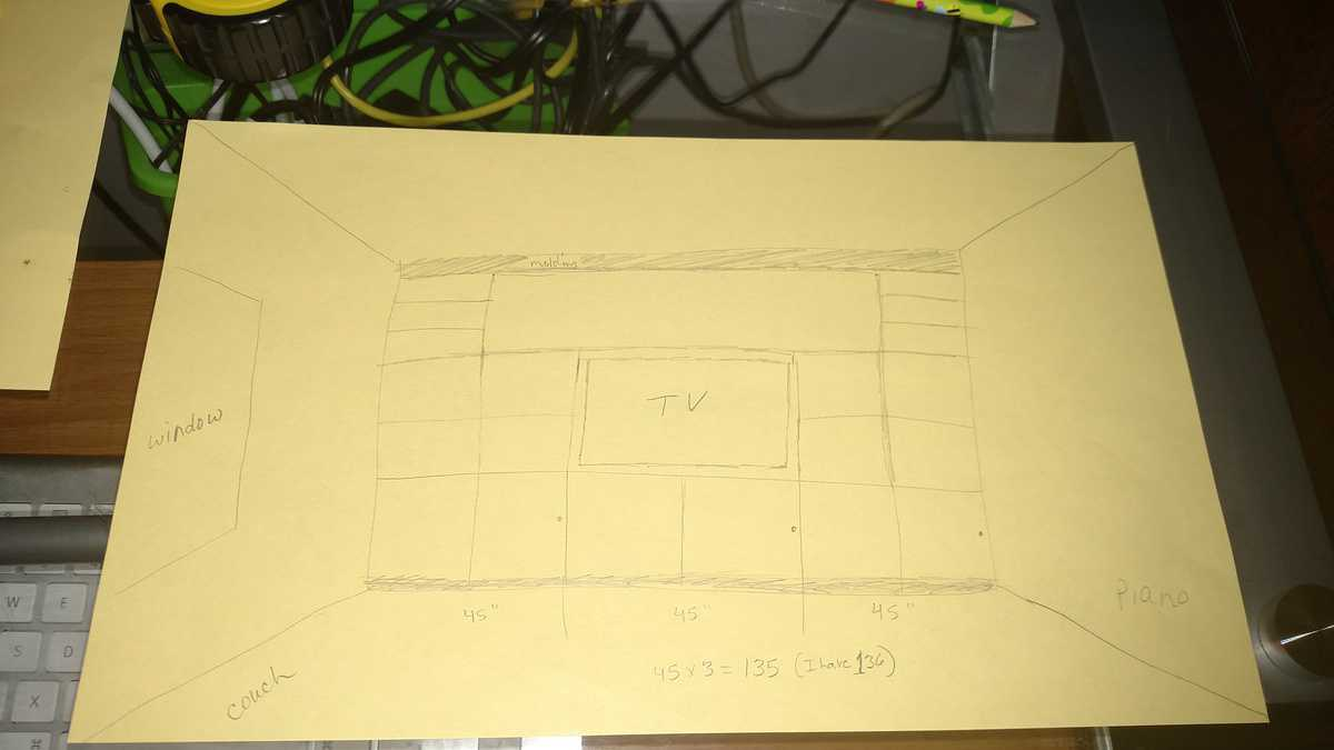 drawing of plans for entertainment center