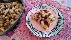 coffee cake with a pink doily background