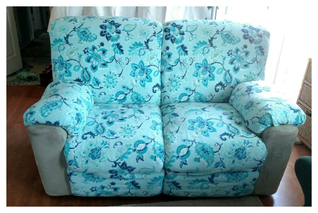 the front of the recliners with their new slipcovers