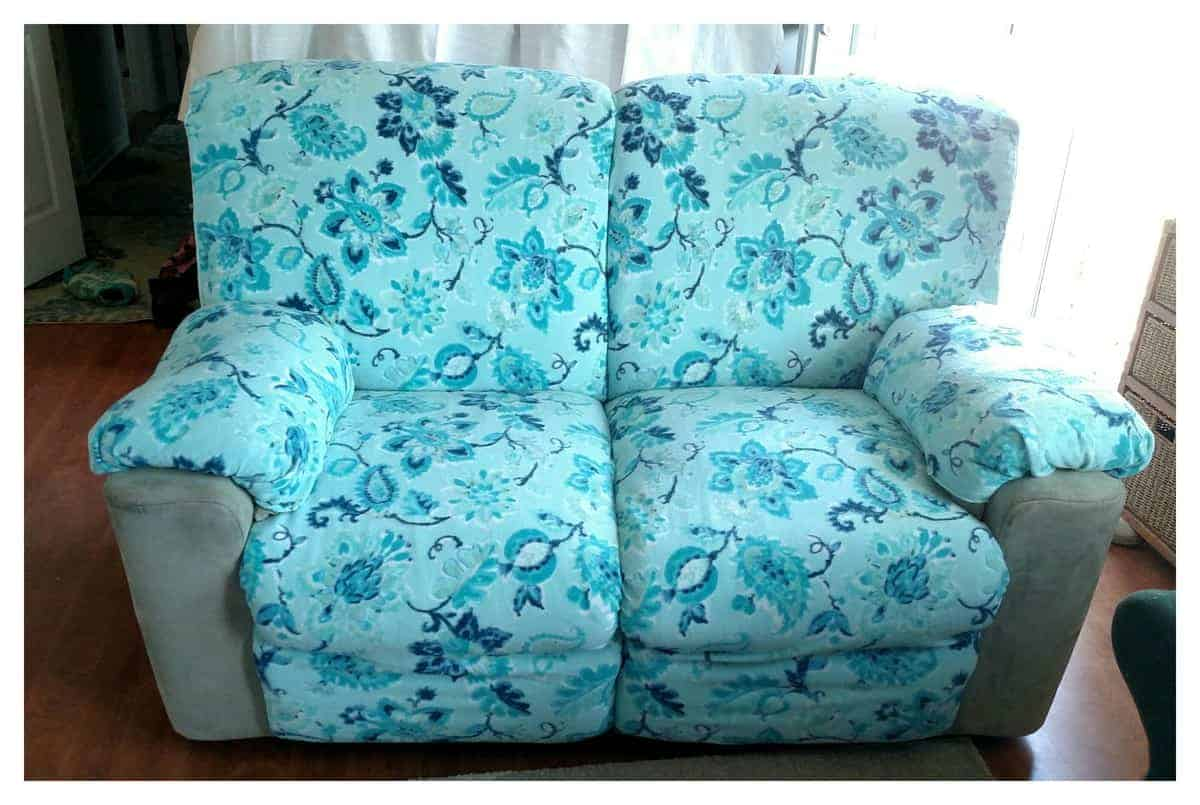 blue and green floral recliner slipcovers
