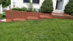 freshly washed brick steps