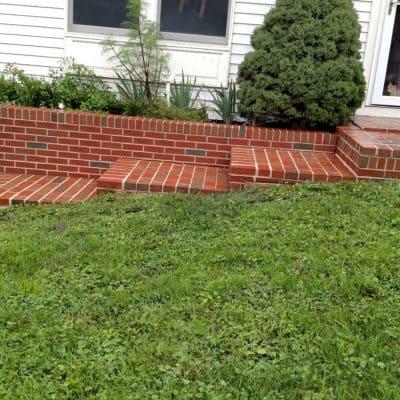 freshly washed brick steps