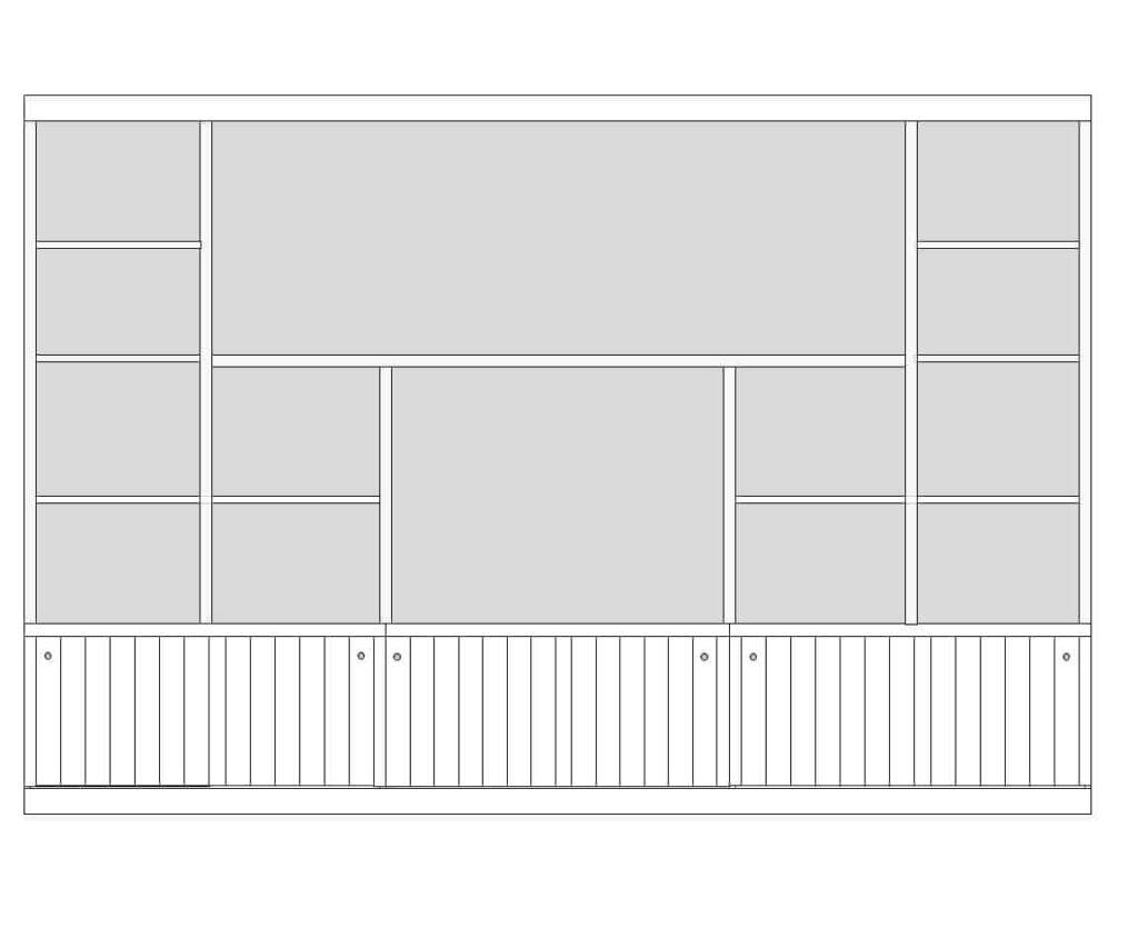 digital drawing of entertainment center shelving