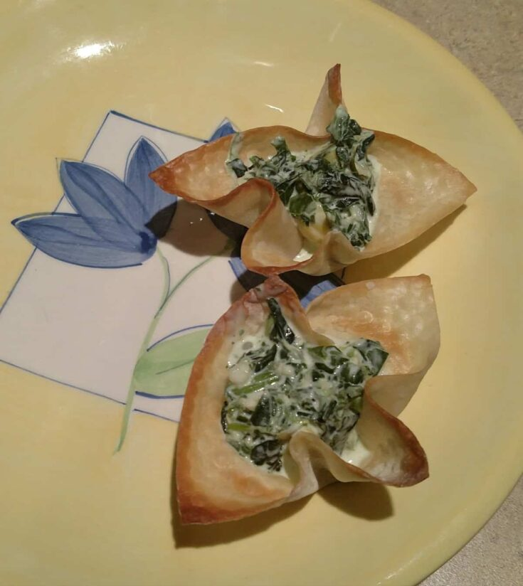 spinach and artichoke dip in wonton wrappers