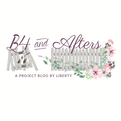 B4 and Afters logo with an old fence and a new fence with flowers growing on it