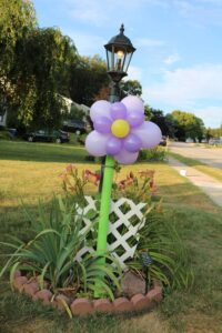 flower balloon on a lamp post