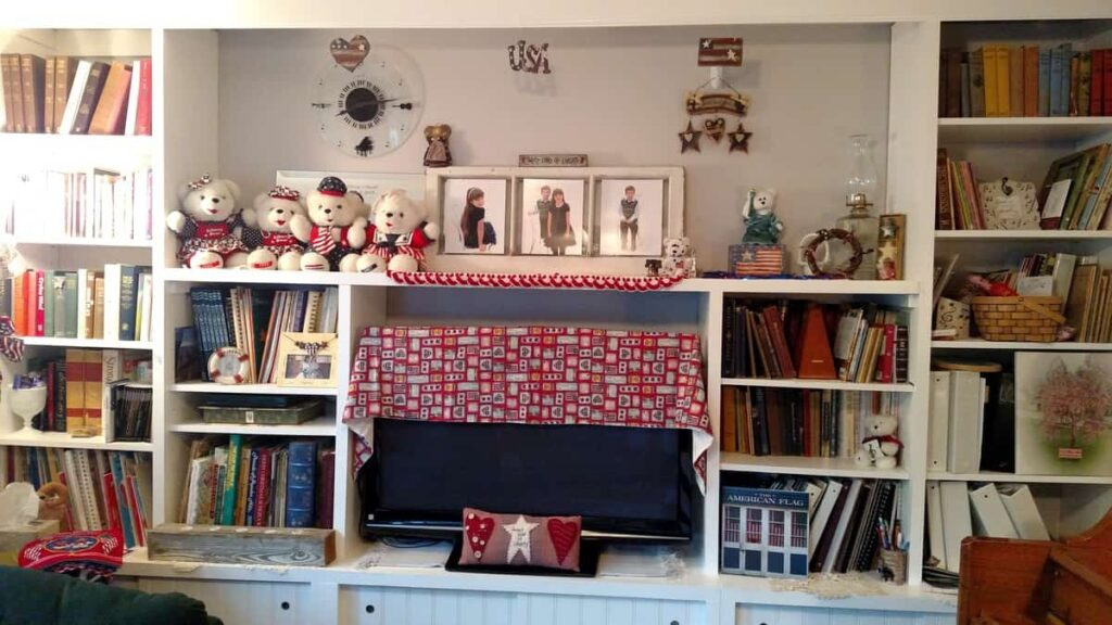 The built in shelving decorated for the Fourth of July