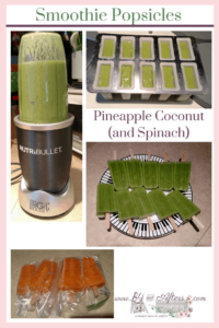 green smoothies, green popsicles, and orange popsicles