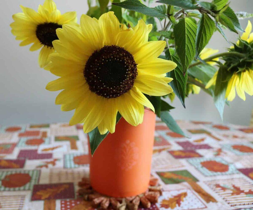 sunflower bouquet in vintage tupperware