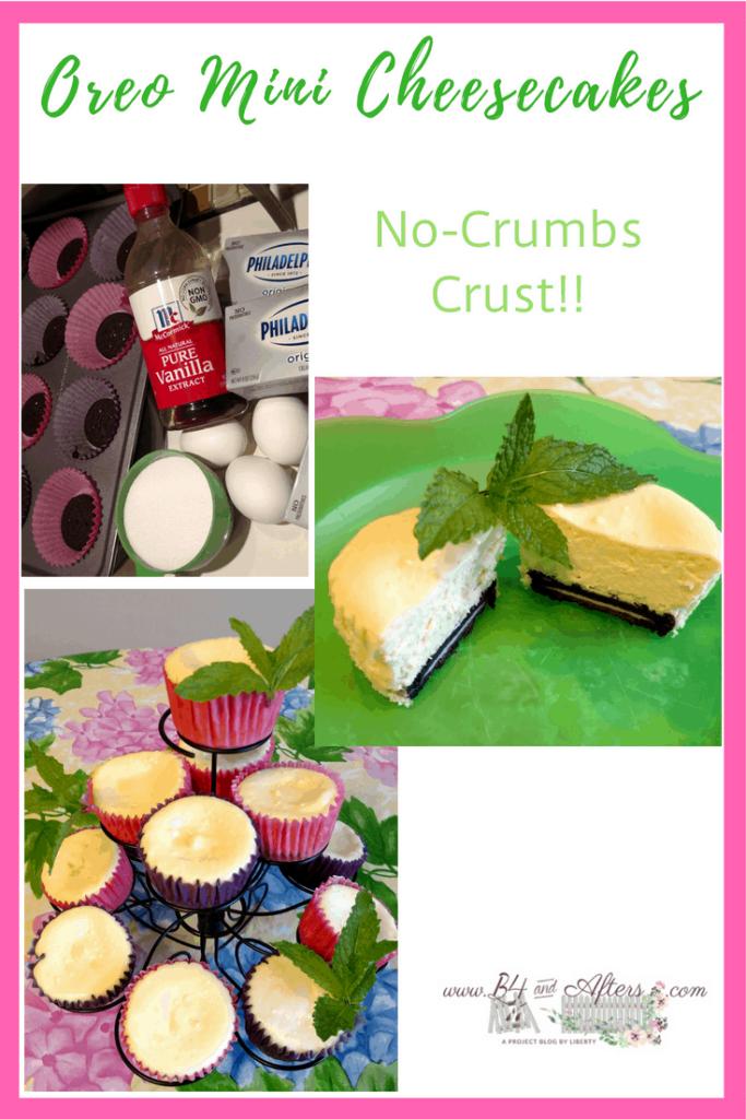 collage of mini oreo cheesecakes