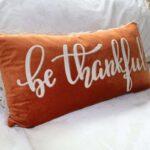 be thankful orange pillow