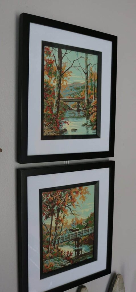 two vertical fall paintings