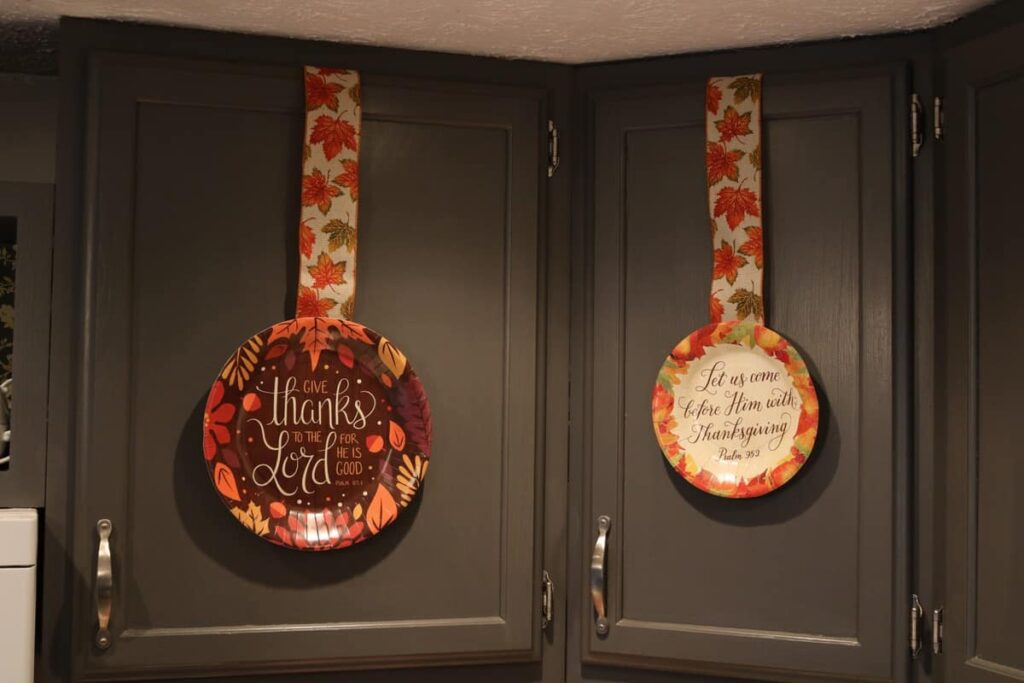 fall paper plates on kitchen cupboards