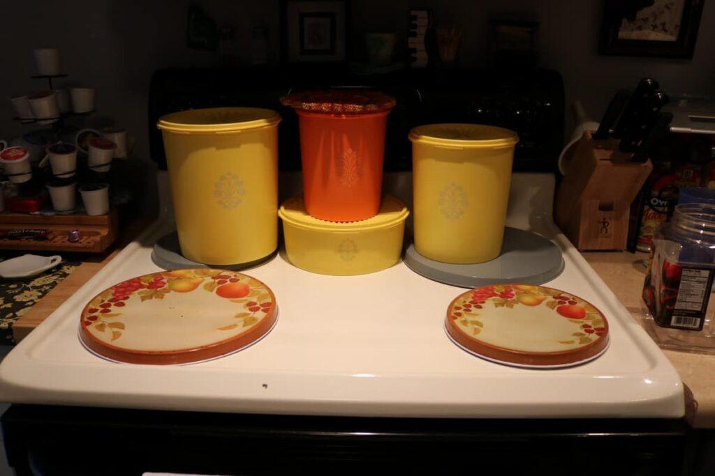 vintage Tupperware, yellow and orange