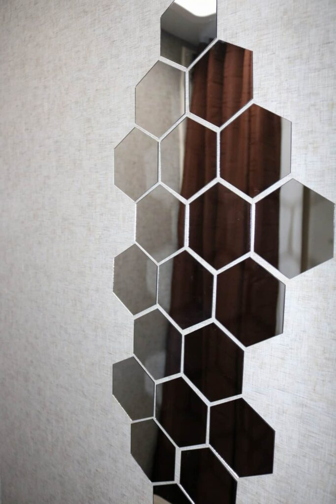 hexagon shaped camper bathroom mirrors