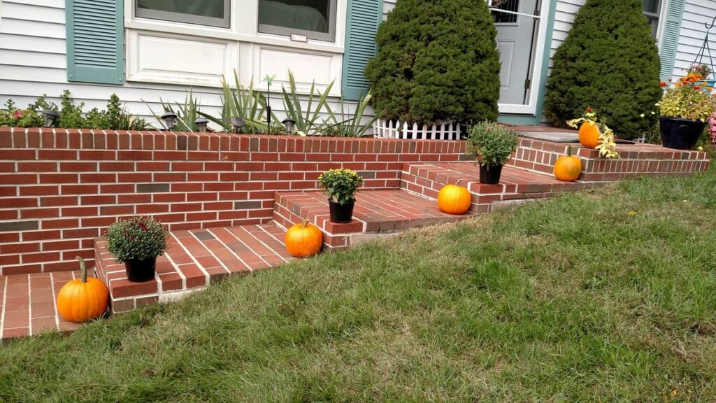 mums and pumpkins lining brick steps