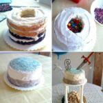 surprise cake with M+Ms inside-- 4 pictures showing progress of making cake. finished cake has a sword in it