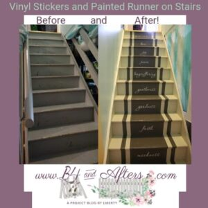 before and after pictures of painted runner on basement stairs