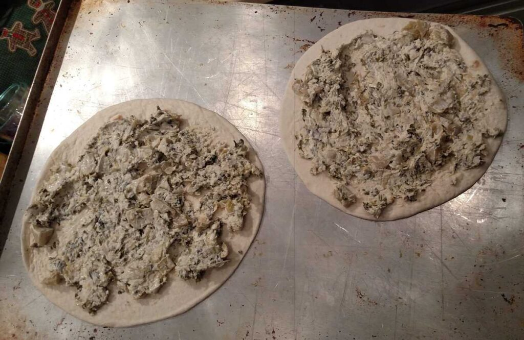 spinach and artichoke dip on tortillas