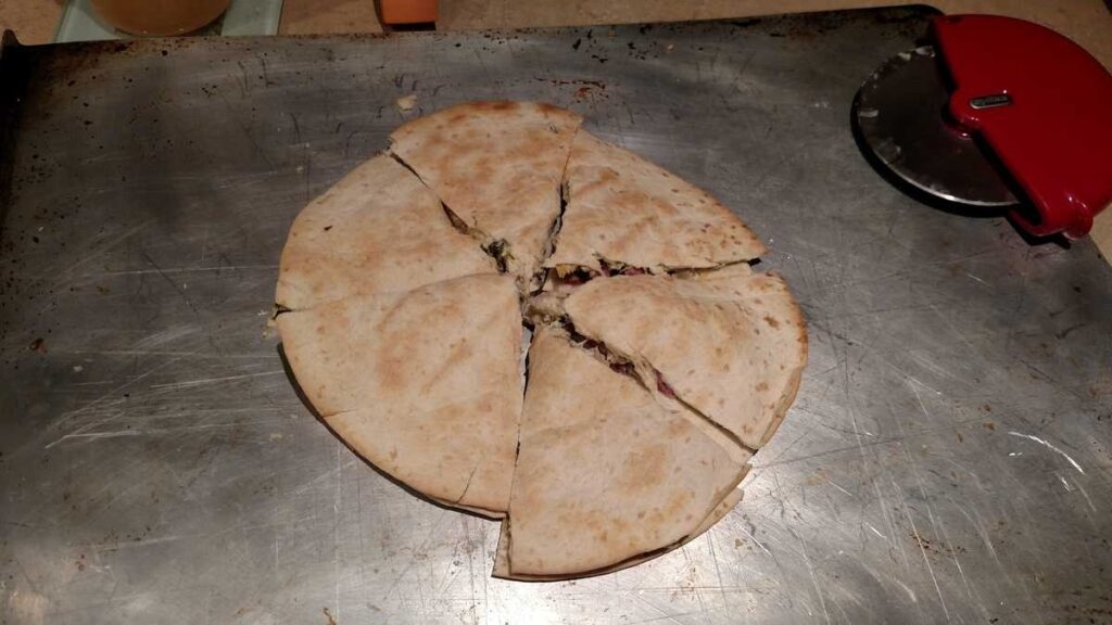 quesadillas sliced with a pizza cutter
