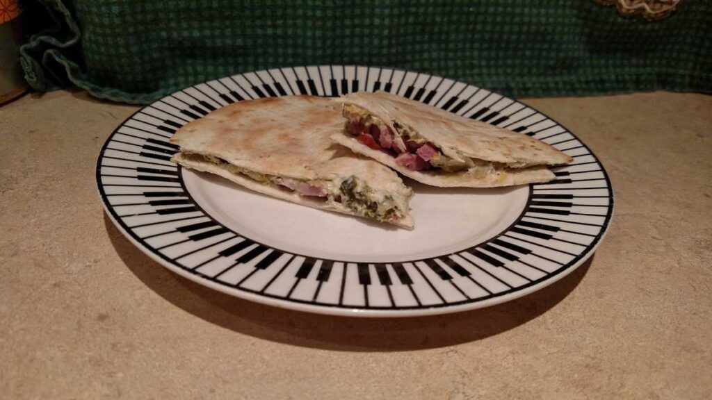 spinach, ham quesadillas